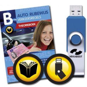 een theorieboekje over de verkeersregels en verkeersborden, plus een USB stick met oefenvragen.